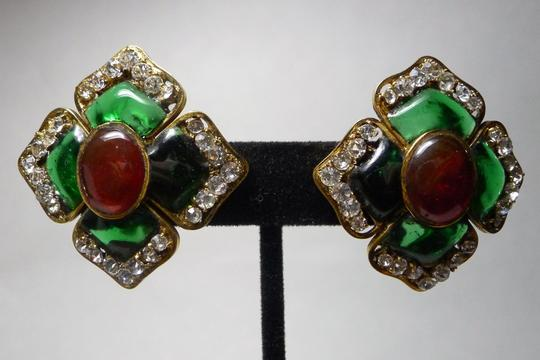 Chanel Authentic Chanel Vintage Red and Green Gripoix Glass Large Flower Earrings
