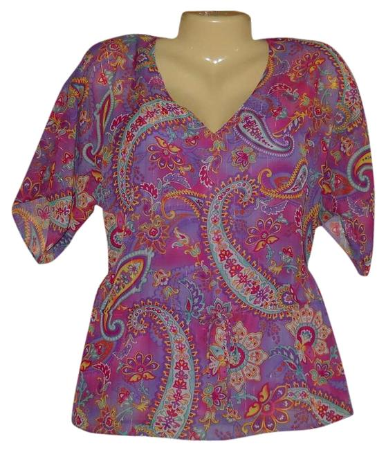 Chaps Tunic Paisley Sheer Cami Pink Boho New 2x Plus Size Short Sleeve Top Purple