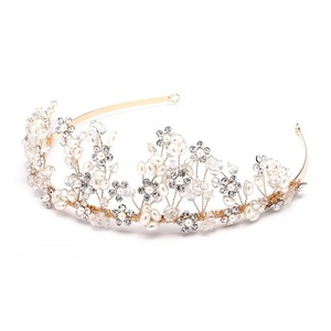 Mariell Botanical Pearl Gold Statement Tiara