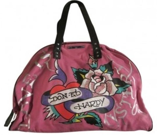 Preload https://item5.tradesy.com/images/ed-hardy-duffel-with-leather-trim-and-tattoo-print-fuchsia-canvas-weekendtravel-bag-40024-0-0.jpg?width=440&height=440
