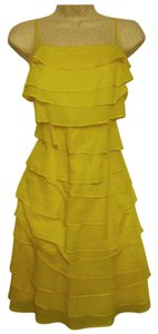 Calvin Klein short dress Yellow Spaghetti Strap Knee-length Sheath Tiered on Tradesy