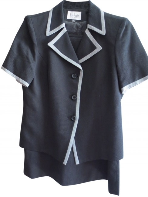 Le Suit Le Suit black short-sleeve skirt suit