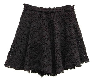 Free People Lace Romantic Floral Crochet Mini Skirt Black