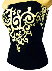 White House | Black Market Strapless Cotton-spandex Paisley Top Black and Off-White