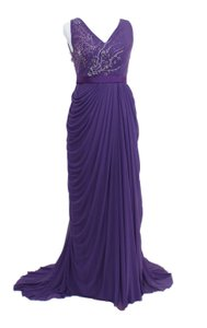Purple Beaded Chiffon Elegant Richly Purple Gown Dress