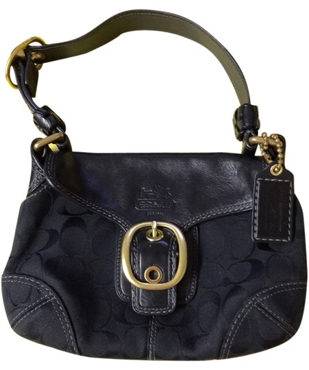 Preload https://item4.tradesy.com/images/coach-small-black-leather-and-cotton-shoulder-bag-4002988-0-0.jpg?width=440&height=440