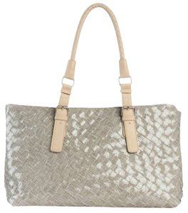 Other Woven Braided Patent Tote in Gray