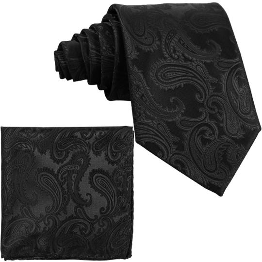 Brand Q New Men's Black Paisley Design Self Tie Necktie And Handkerchief Set