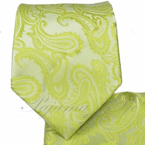 Brand Q New Men's Lime Green Paisley Design Self Tie Necktie And Handkerchief Set