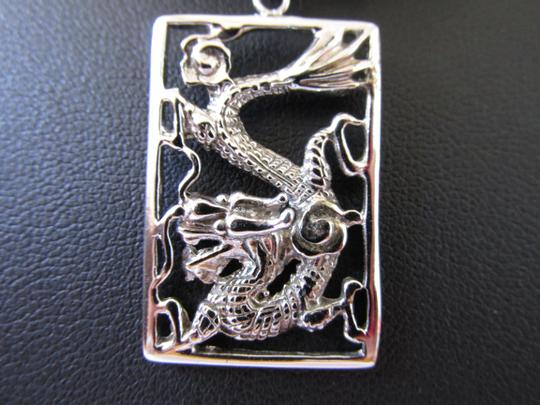 Other 18K White Gold Plating Over Sterling Silver Dragon Pendant