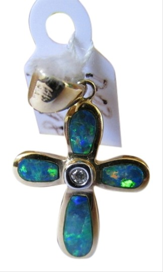 Other 14K Solid Yellow Gold Cross Pendant with Natural Opal and Diamond