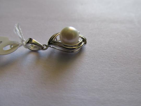 Other 14K Solid White Gold Natural Pearl and Diamond Pendant