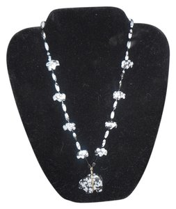BEAR NECKLACE - SNOWFLAKE OBSIDIAN & STERLING SILVER - BLACK AND GREY - 24 INCHES LONG