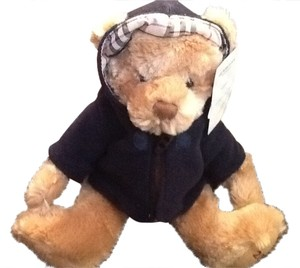 Burberry Burberry Carmel Brown Bear with Burberry plaid trimmed hoodie