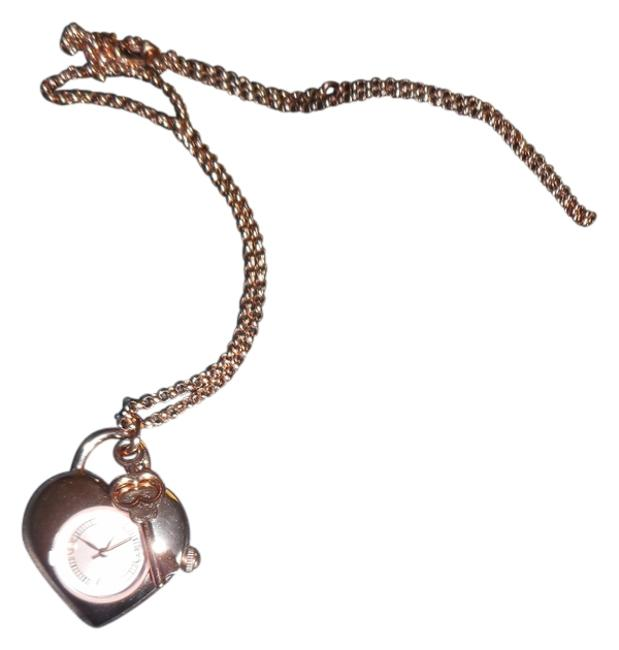 """Item - Rose Gold Heart Shaped Pendant with 24"""" Rolo Chain Watch"""