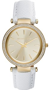 Michael Kors NEW! Michael Kors Darci White Leather Gold Pave Glitz Watch MSRP $225