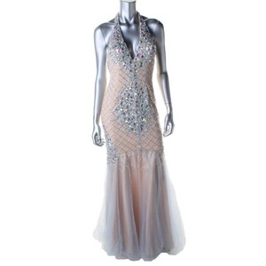 Terani Couture Blue/Nude Dress