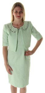 Le Suit NIPON BOUTIQUE NEW Green Shimmer Sleeveless Dress With Jacket