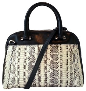 MILLY Leather Snakeskin Embossed Tote Rolled Handles Detachable Strap Smooth Silvertone Hardware Satchel in Black/Snakeskin