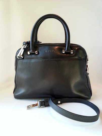 MILLY Leather Embossed Tote Rolled Handles Detachable Strap Smooth Silvertone Hardware Satchel in Black/Snakeskin