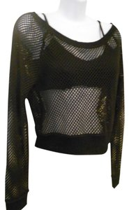 Express Fishnet Crop T Shirt black
