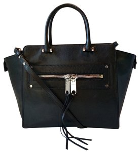 MILLY Goat Leather Smooth Satchel Detachable Strap Tassels Silvertone Hardware Metal Zippers Rolled Handles Tote in Black