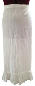 Calypso St. Barth Linen Long Chic Maxi Skirt White