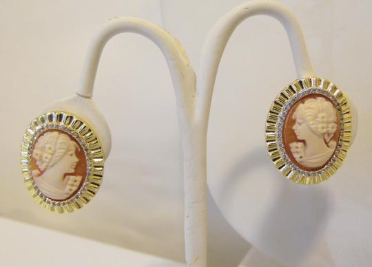 """AMEDEO AMEDEO NYC Tassello """"Cameo"""" CZ Frame Goldtone Clip-On Earrings"""
