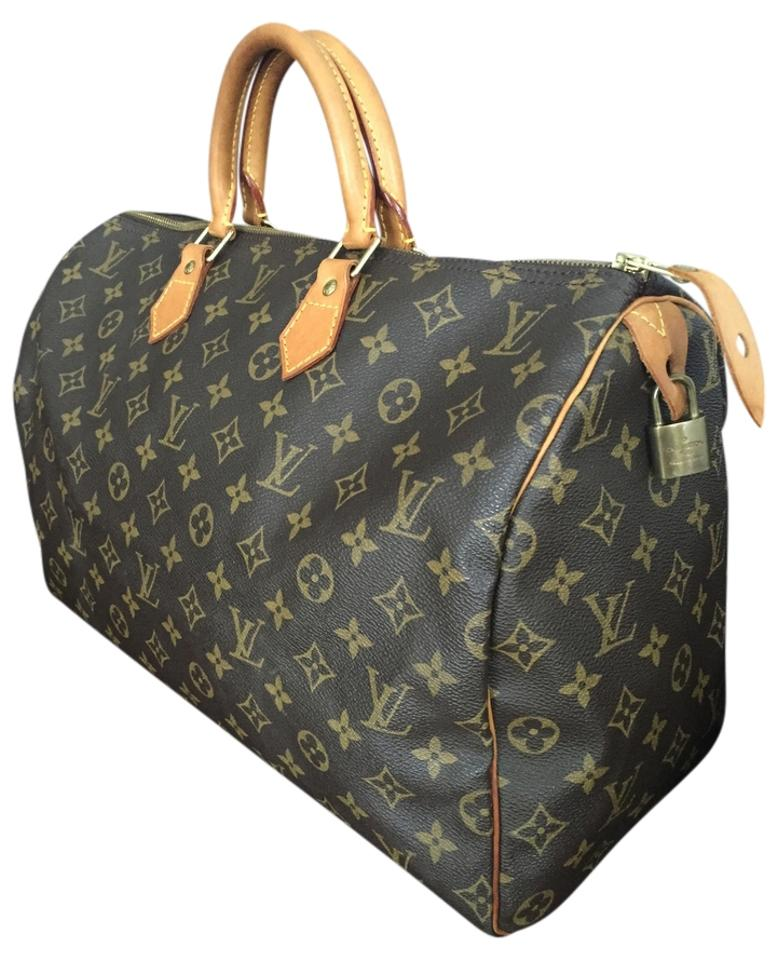 407a539482a5 Louis Vuitton Speedy 40 Monogram Handbag Travel Weekend Canvas Satchel in  Brown Image 0 ...