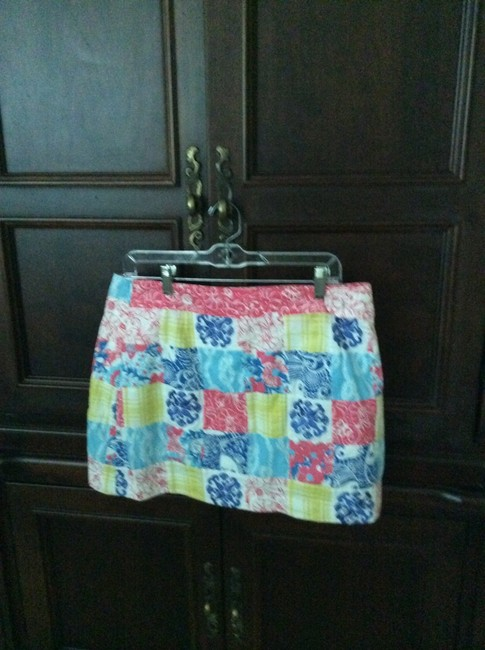 Lilly Pulitzer Mini Skirt Coral, yellow, blue