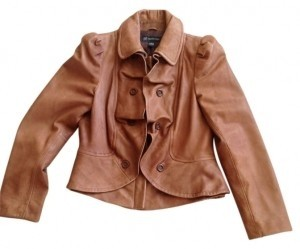INC International Concepts Brown Leather Jacket