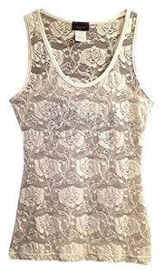 To Mi Top Sheer white stretch lace 'Babygirl' logo tank