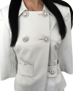 Trina Turk Evening Crystals Elegant Holiday Wedding Fitted Night Formal Designer California White Jacket