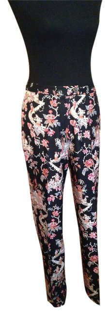 Talbots Slim Leg Asian Intricate Pattern Silk Straight Pants Black and red Chinese scene