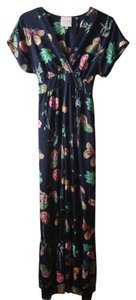 Navy Blue w/Butterflies & Flowers Maxi Dress by Romeo & Juliet Couture Empire Waist Bohemian Floral
