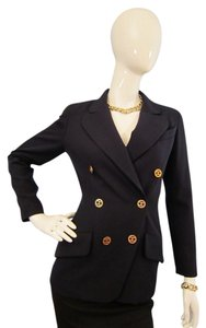Chanel Vintage Gold Navy Blue Jacket