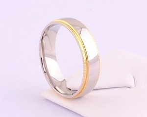 Two Tone Unisex Stainless Steel Wedding Band Free Shipping