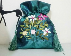 Teal Satin Embroidered Wedding Bag Free Shipping