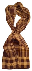 Echo Brown gold plaid scarf