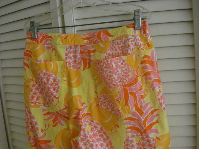 Lilly Pulitzer Pants Pineapples Oranges Tropical Stretch Capris MULTICOLOR