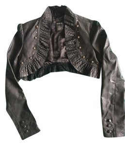 Arden B. Leather Crop Top Crop Black Jacket
