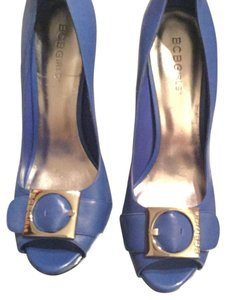 BCBGeneration Open Toe Tan Office Royal Blue with Chrome Buckle Pumps
