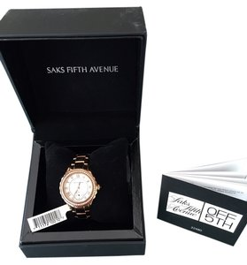 Saks Fifth Avenue Rose Gold plate case Quartz Womens Watch