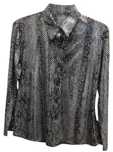 Other Glittery Exotic Evening Day Top Black & Light Gray Snake Print - Allover Silver Sequins