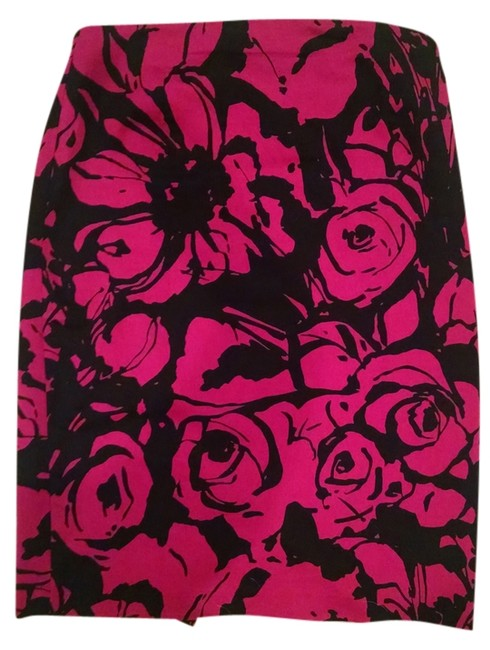 Express Pencil Skirt Pink and Black Floral