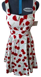Ixia short dress white with cherries pattern on Tradesy