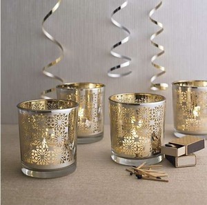 Crate & Barrel Gold/Silver Like New 25 Votive Candle Holders Reception Decoration