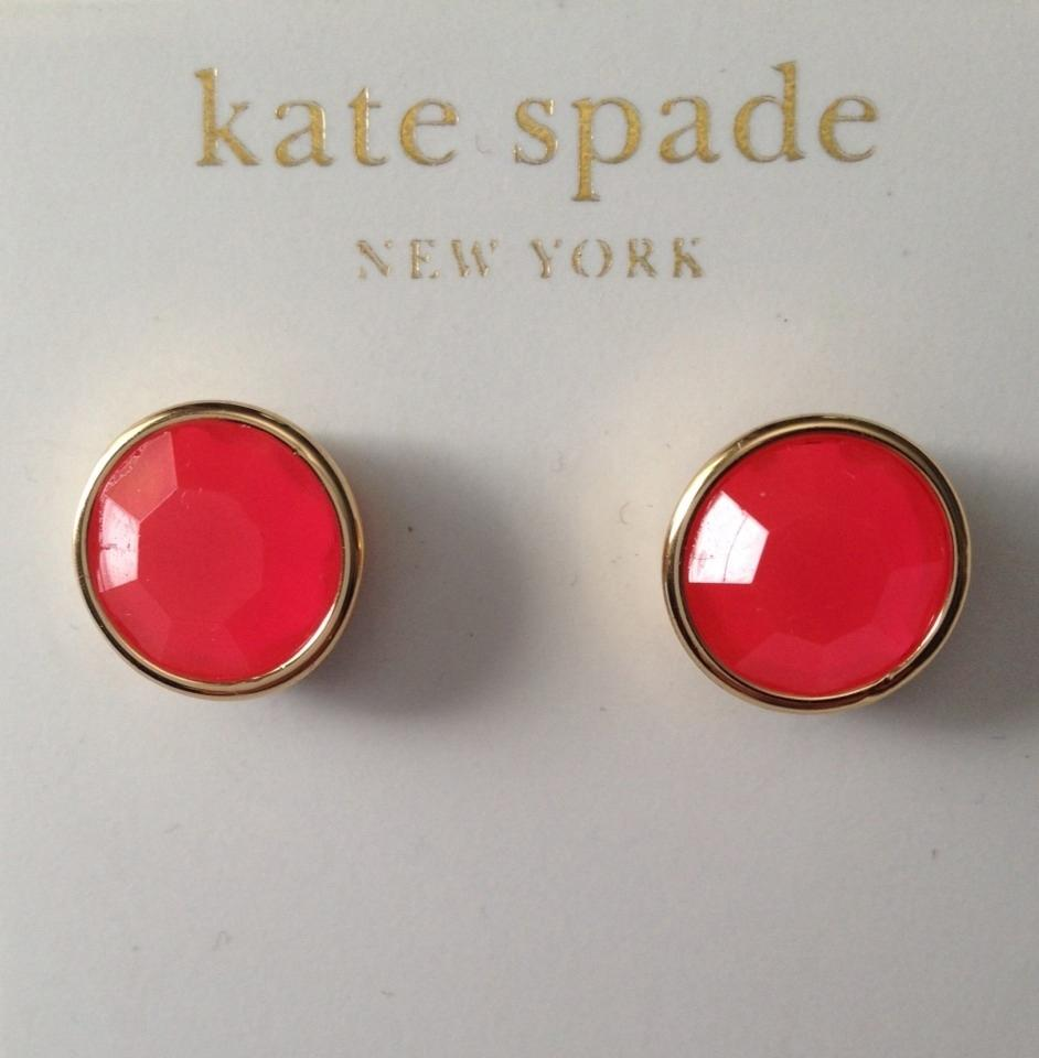 Kate Spade Electric Pink Round Bezel Set Gumdrop Stud Earrings