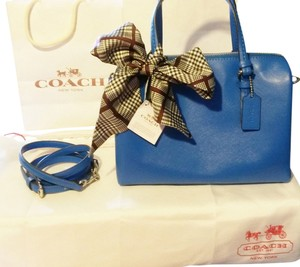 Coach Leather Sapphire Satchel in Royal Blue