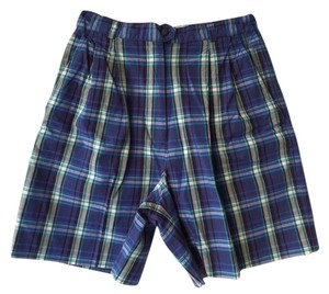 Izod Bermuda Shorts Blue Plaid